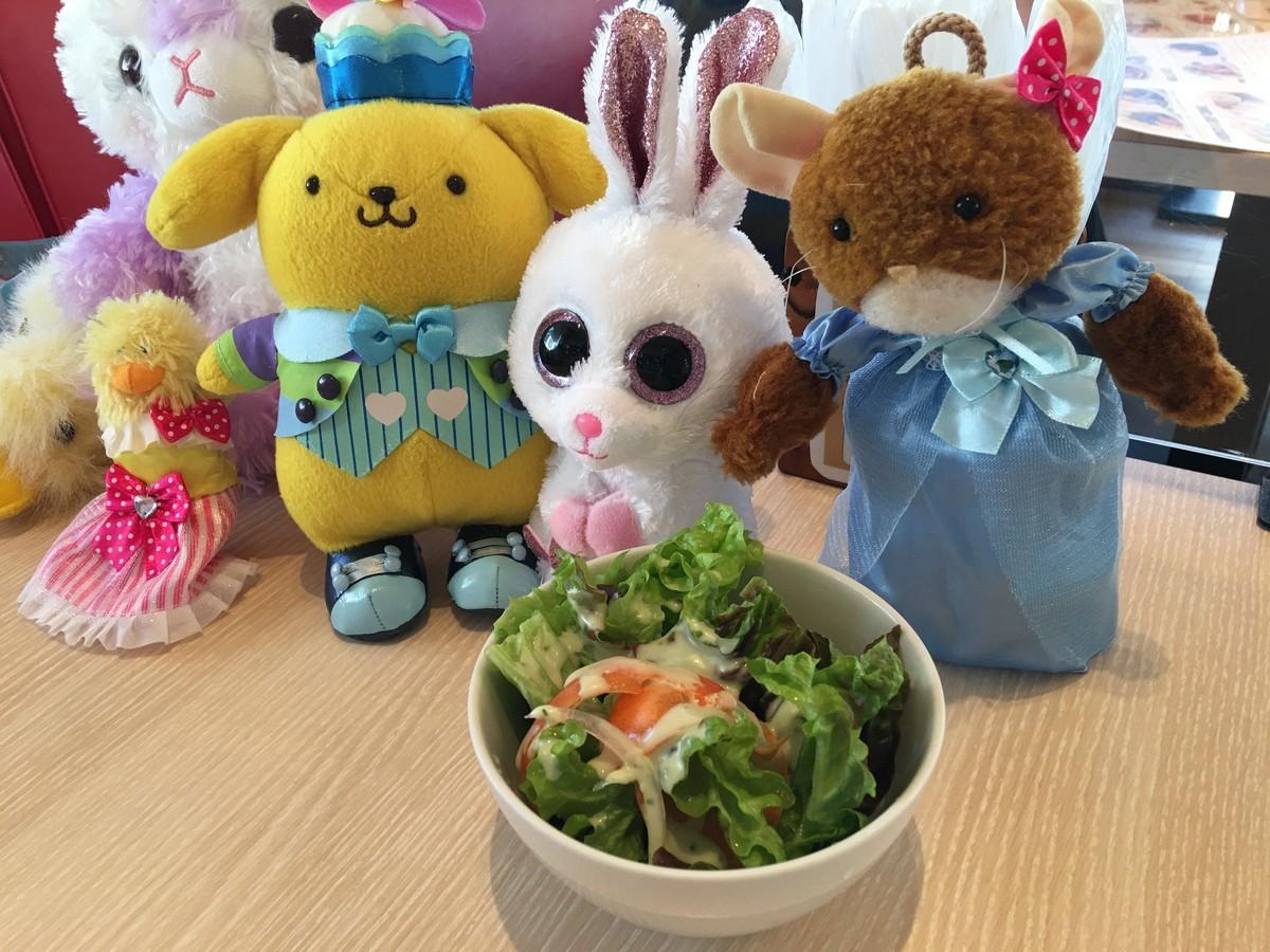 サラダはみんなで分けて食べました