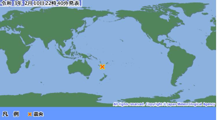 西太平洋のニューカレドニア付近でマグニチュード7〜8の地震が発生しました