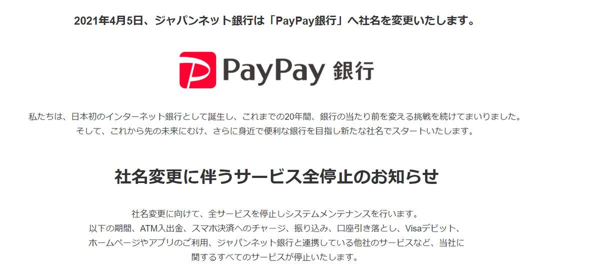 ジャパンネット銀行!社名変更による手続き!