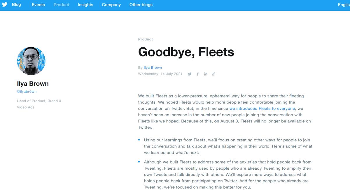 Twitterのフリート機能廃止の理由!Goodbye, Fleets「フリート」機能を8月4日で廃止