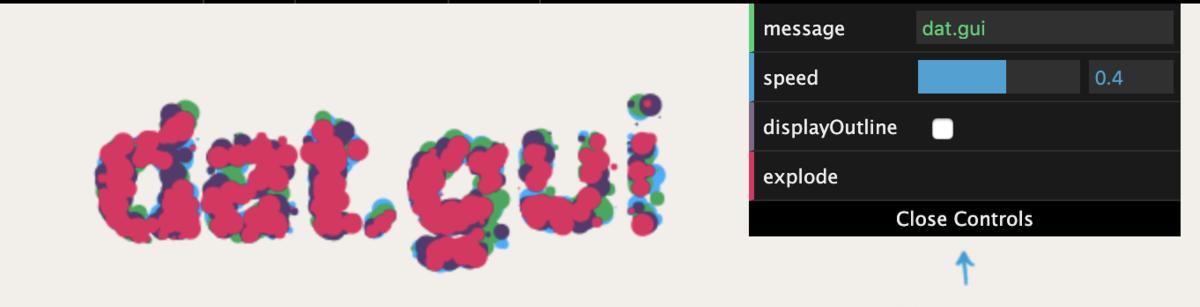 dat.GUIの画面