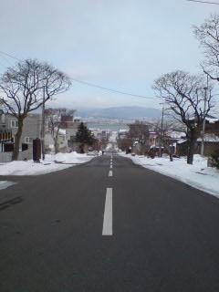 幸坂_上から函館港を望む