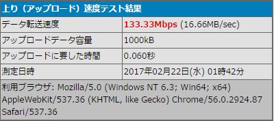 WR8500の有線LAN上りスピードテスト結果
