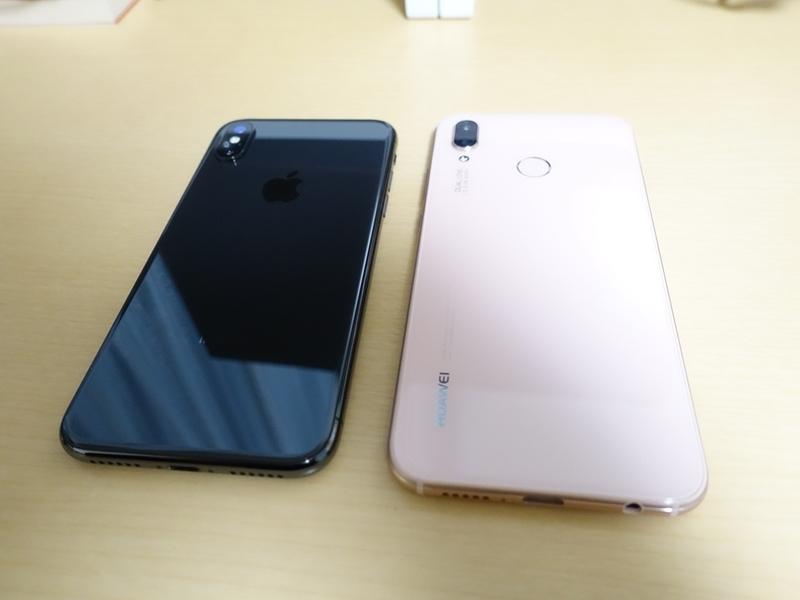 HUAWEI P20liteとiPhoneXの本体比較