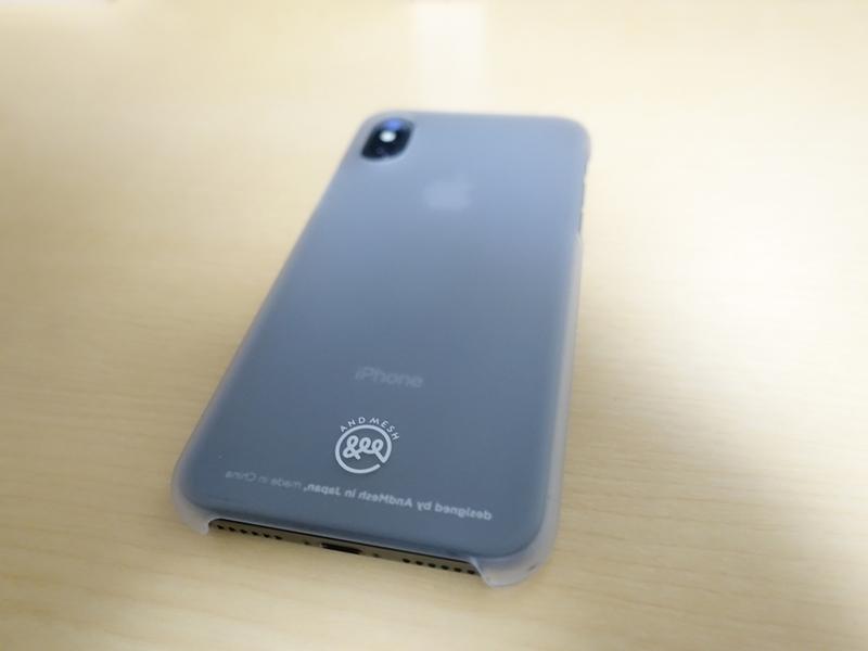 AndMesh iPhone X ケース Basic Caseを装着した時の裏面の全体の外観