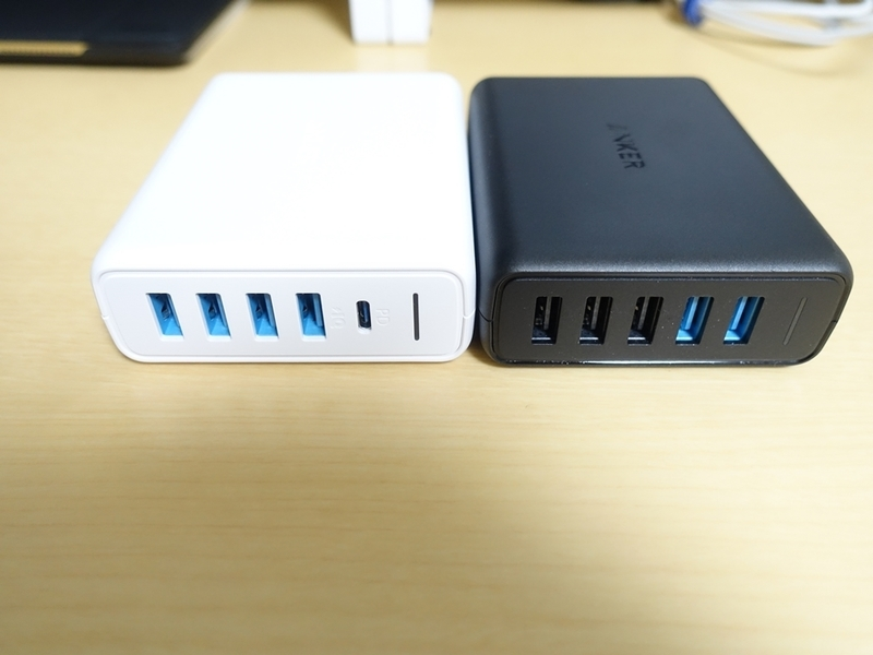 Anker PowerPort I PDとPowerPort Speed 5のポート側外観比較