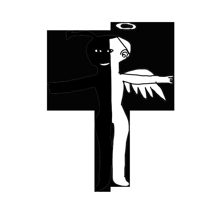 天使と悪魔のタネを持つ人間の無料イラスト - へんなイラスト