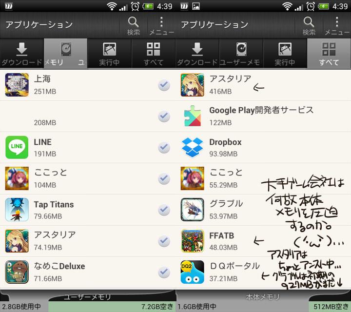 Androidの本体メモリ圧迫よ(更新データ後のグラブル本体251MB)