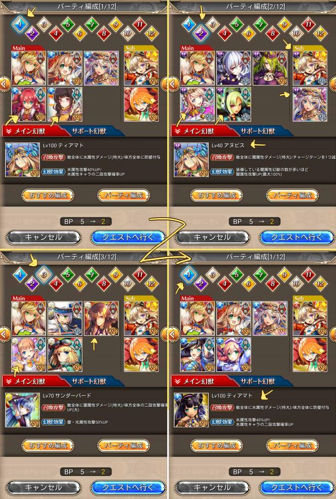 #神姫project Playアプリ。カオスな出撃のパーティ編成画面。