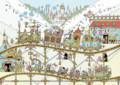 [イラスト][illustration][遊園地][機関車][トロッコ][線路][城][小人][スチームパンク]おとな遊園地~楽しい世界へ~