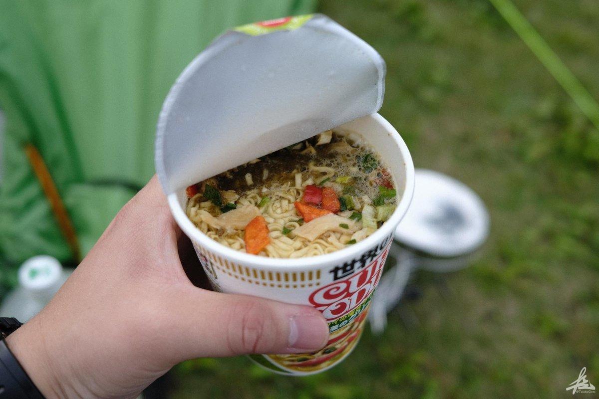 キャンプで食べたカップヌードル