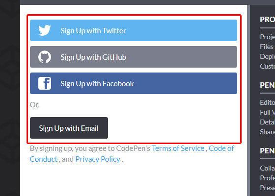 CodePen登録方法は4つ