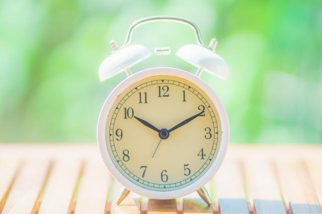 緑ぼかし背景と目覚まし時計