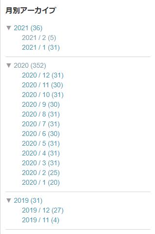 2021年2月5日現在のこのブログのアーカイブ