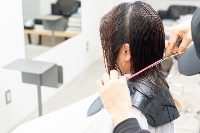 ヘアサロンで髪の毛をカットしてもらう若い女性