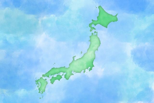 日本地図水彩風