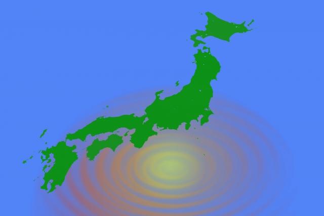 日本地図と波紋