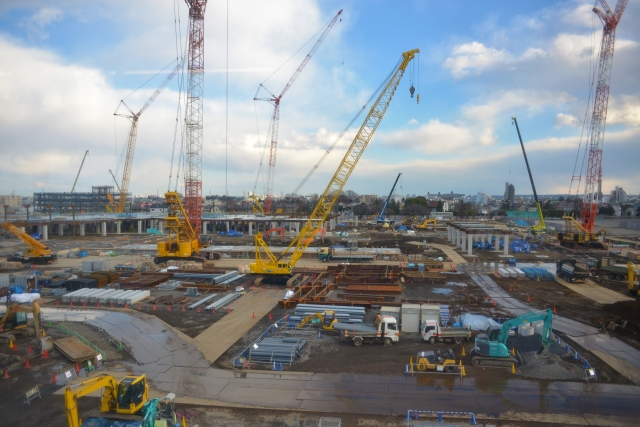 大規模基礎工事中の現場