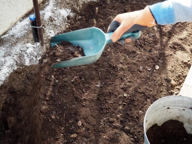 腐葉土を漉き込んで菜園花壇の土作り