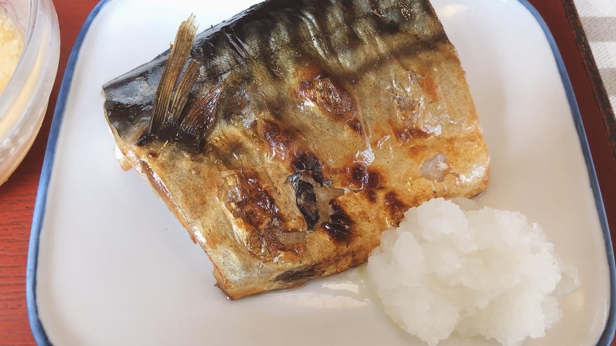 筆者のメインのおかずは鯖の塩焼き