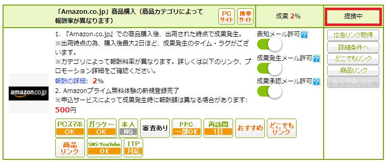 Amazon.co.jpと提携中