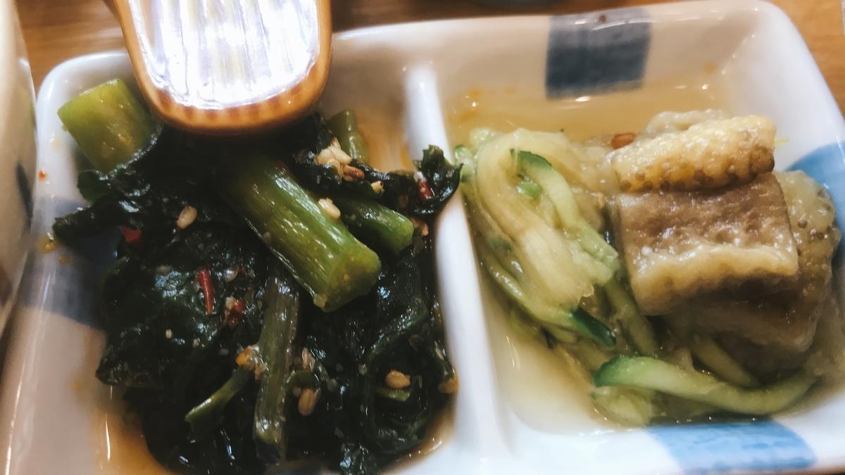 「つるむらさき中華風和え物」と「焼き茄子」