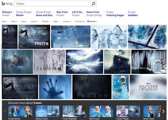 Bing で Frozen(※ アナと雪の女王) と検索