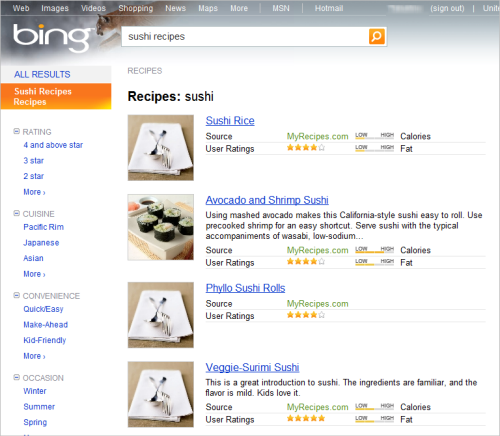 Bing 料理レシピ検索