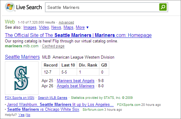 MS Live SearchでSeattle Marinersと検索