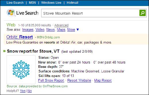 Live Search リゾート地の積雪を調べられる検索サービス