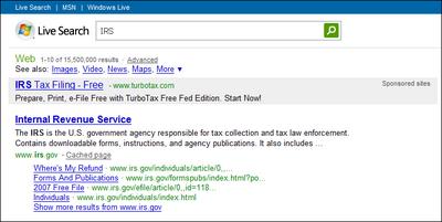 マイクロソフトのLive Searchで「IRS」と検索したところ。ウェブ検索結果画面上に、IRSへのディープリンクが表示されている。