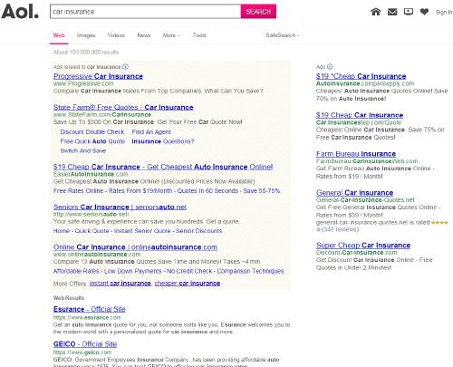 米国の AOL 検索結果。Bing に切り替え済み