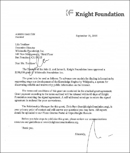 John's and James L. Knight Foundation Grant Agreement