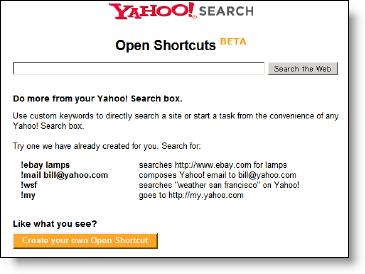 Yahoo! Open Shortcuts