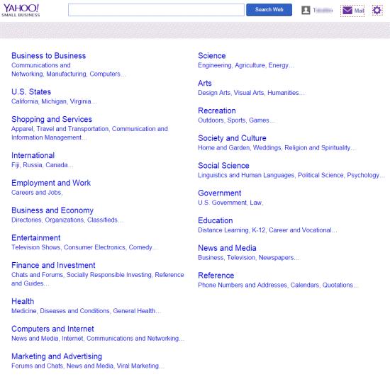 Yahoo! Directory が Yahoo! Small Business にかわっている
