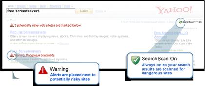 Yahoo! SearchScanの概要。有害サイトを事前警告。危険度が高いサイトは検索結果から除外する。McAfeeのSiteAdvisor技術を利用