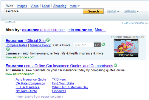 Rich Ads in Search, Esuranceの広告 検索ボックスがある