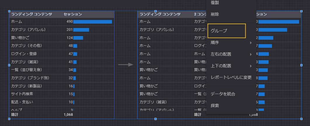 表と表をグループ化する方法