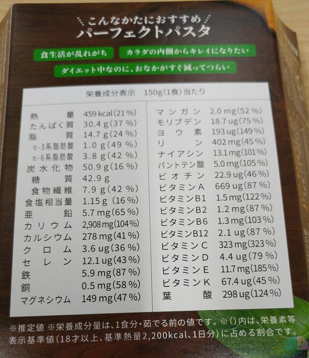 BASE PASTAの栄養成分表