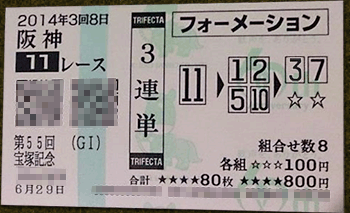 宝塚記念,三連単的中,2014