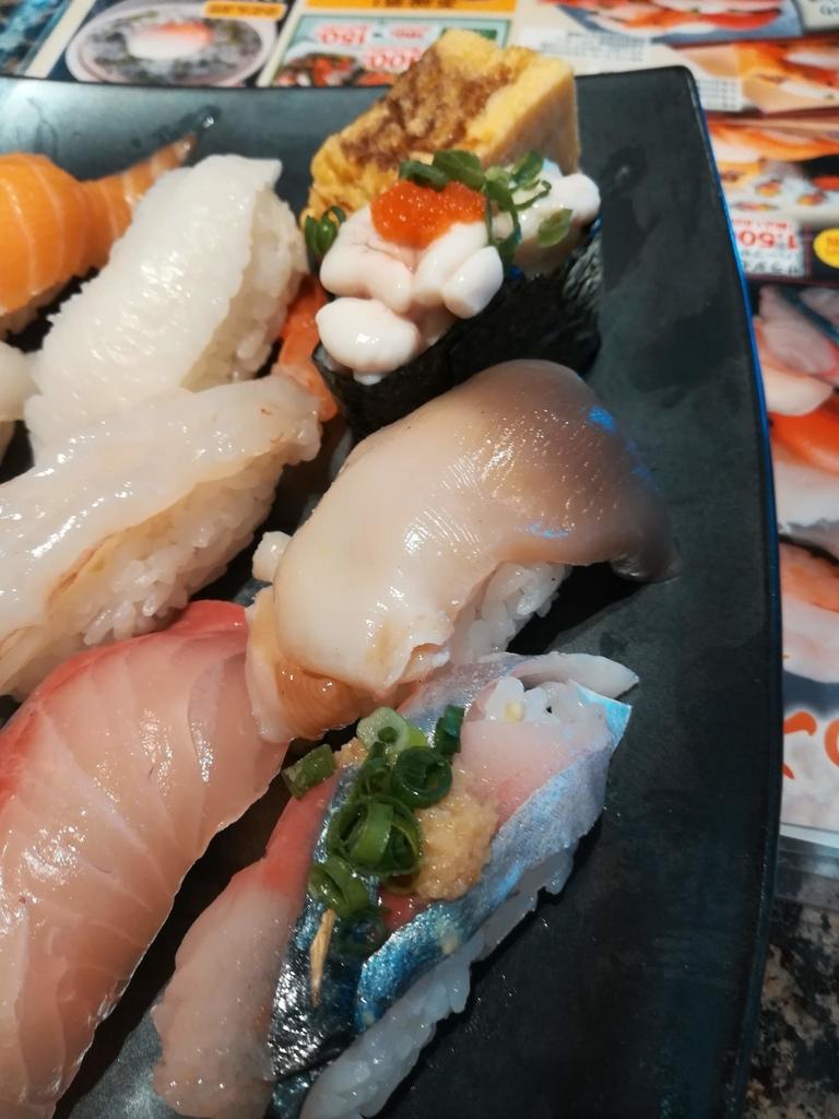 がってん寿司の活〆生サバ、活ほっき貝、真鱈の白子軍艦、厚焼き玉子