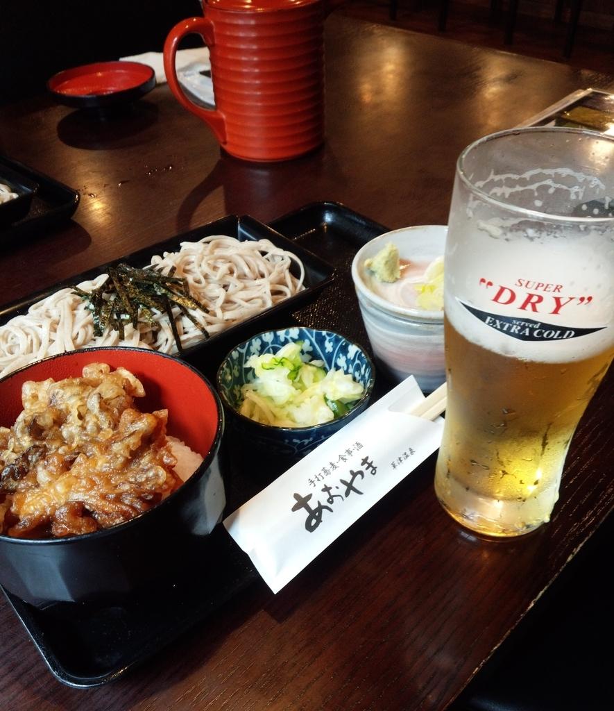 蕎麦処「あおやま」の舞茸天丼セット