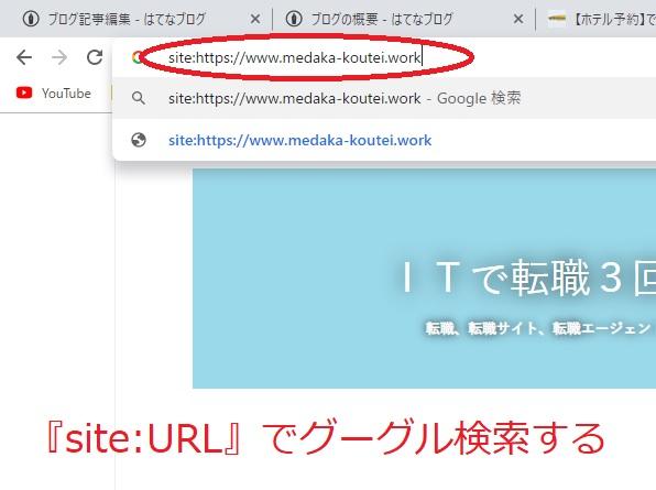 site:自分のブログのURLでグーグル検索してみます
