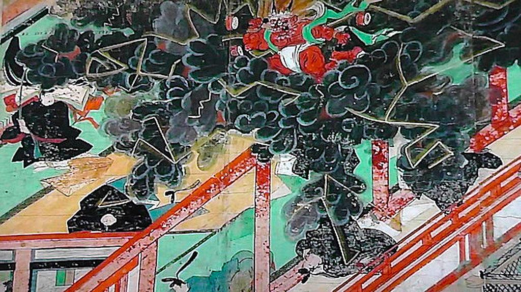 『北野天神縁起絵巻』に描かれた、清涼殿落雷事件