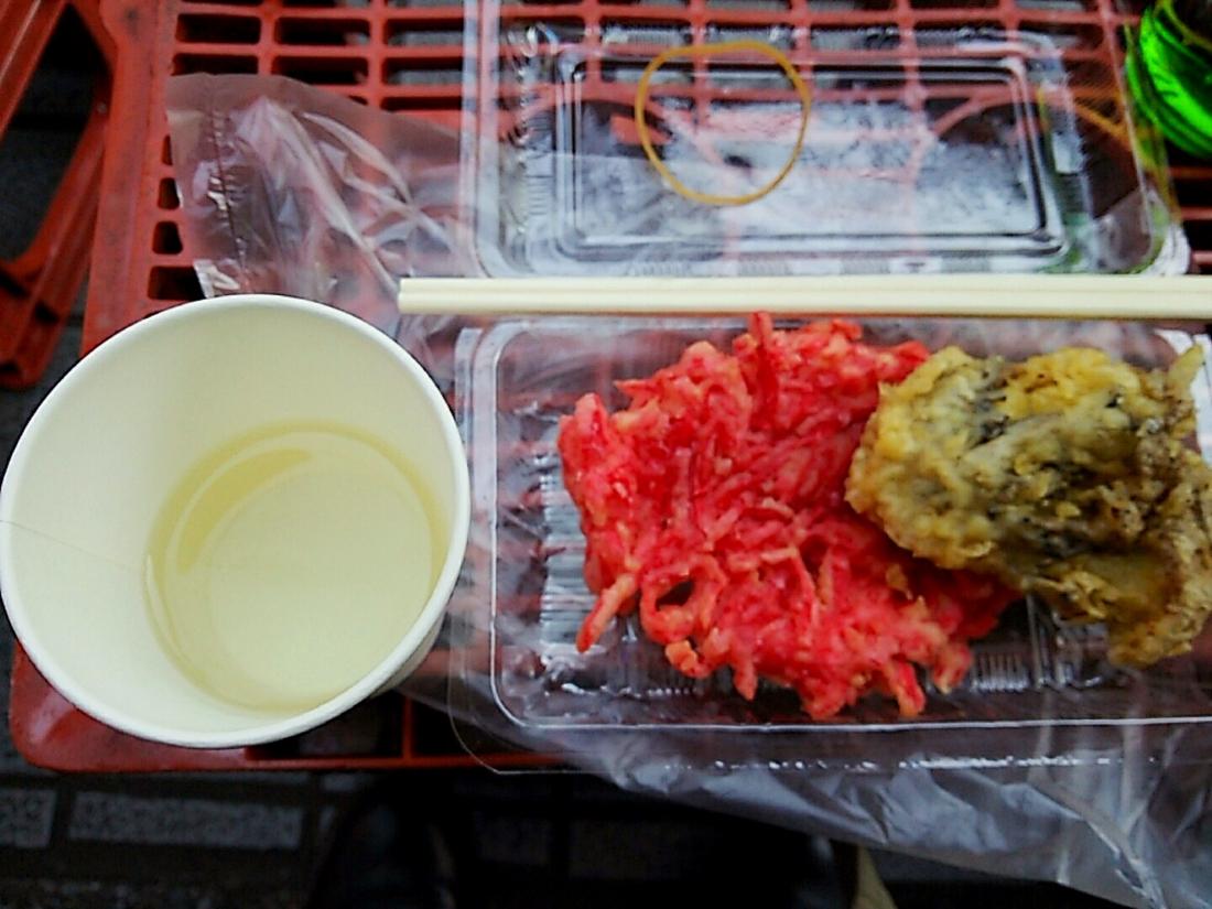 コップ酒と天ぷら