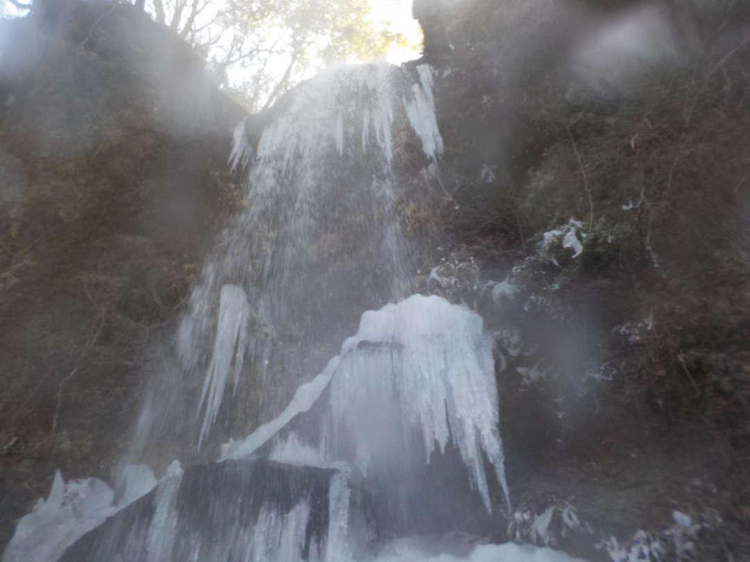 滝を見上げる