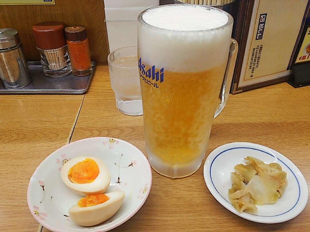 生ビールと煮玉子