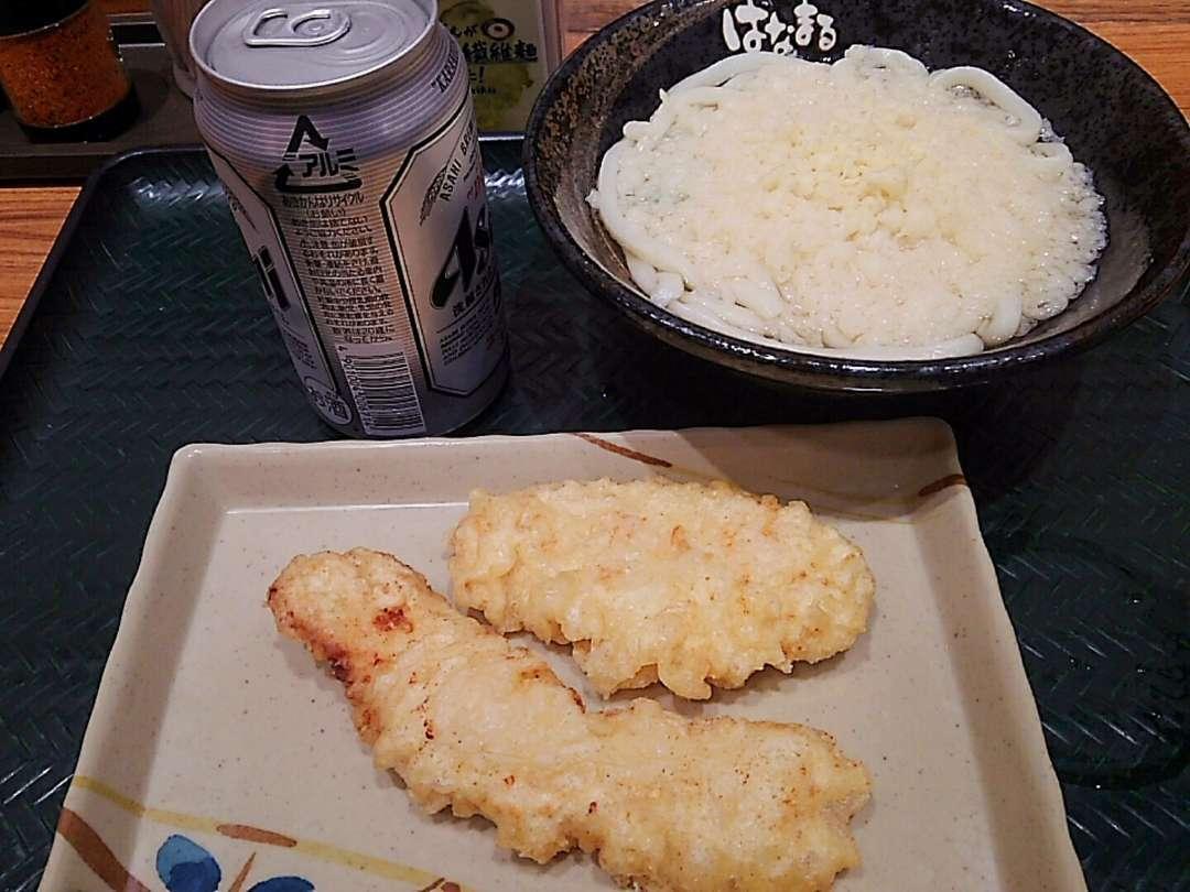 天ぷらうどんとビール