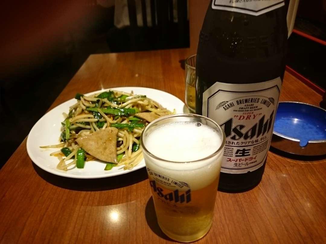 ビールとレバニラ