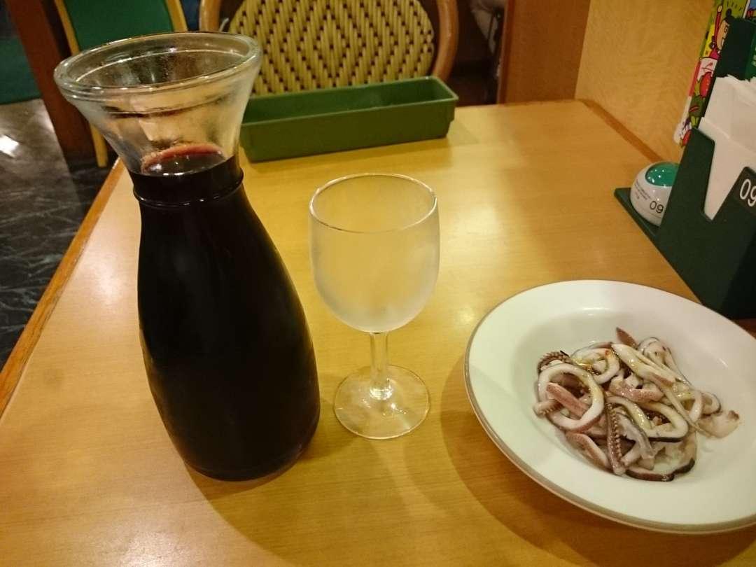 真いかのパプリカソースとデキャンタワイン
